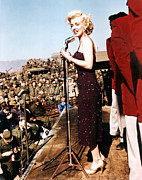 Hoop Earrings Posters - Marilyn Monroe Entertaining The Troops Poster by Everett