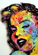 Celebrities Painting Metal Prints - Marilyn Monroe II Metal Print by Dean Russo