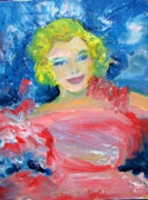 Shimmy Posters - Marilyn Monroe In Pink And Blue Poster by Patricia Taylor