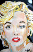 Elton John Painting Framed Prints - Marilyn Monroe Framed Print by Jon Baldwin  Art
