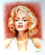 Star Drawings Framed Prints - Marilyn Monroe Framed Print by Lena Day
