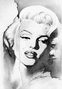 Star Drawings Framed Prints - Marilyn Monroe Framed Print by Lin Petershagen