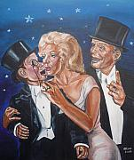 Movies Painting Originals - Marilyn Monroe marries Charlie McCarthy by Bryan Bustard