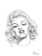 Celebrity Portrait Drawings Posters - Marilyn Monroe Poster by Murphy Elliott