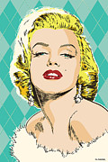 Blonde Framed Prints - Marilyn Monroe Pop Art Framed Print by Jim Zahniser