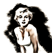 Icon  Pastels Metal Prints - Marilyn Monroe Portrait Metal Print by Dwayne  Graham