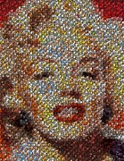 Marylin Framed Prints - Marilyn Monroe Skull Mosaic Framed Print by Paul Van Scott