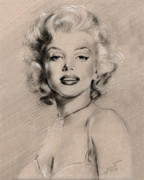 Drawing Pastels Originals - Marilyn Monroe by Ylli Haruni
