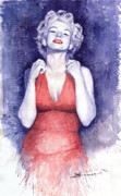 Retro Portret Paintings - Marilyn Monroe by Yuriy  Shevchuk