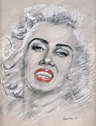 Screen Print Drawings Framed Prints - Marilyn  Framed Print by Paulette Farrell
