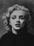 Charcoal Drawings Posters - Marilyn Poster by Steve Hunter