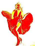 Celebrities Art - Marilyns Itch Red On White by Randall Weidner