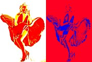 Celebrities Art - Marilyns Itch White Red by Randall Weidner