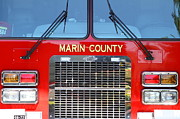 Fire Fighters Prints - Marin County Fire Department Fire Engine . Point Reyes California . 7D15922 Print by Wingsdomain Art and Photography