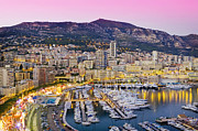 In A Row Art - Marina And Cityscape Of Monaco At Dusk by Scott E Barbour
