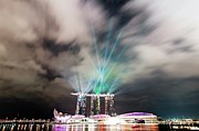 Y120817 Prints - Marina Bay Colourful Night Print by Paul Biris