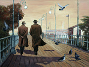 Noir Paintings - Marina Broadwalk by Theo Michael