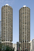 Two Towers Posters - Marina City Chicago - Life in a Corn Cob Poster by Christine Till