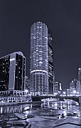 Night Sky Originals - Marina City on the Chicago River in B and W by Steve Gadomski