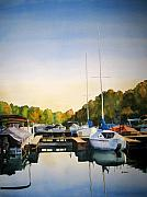 Cay Painting Posters - Marina Morning Poster by Shirley Braithwaite Hunt