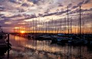 Sunset Prints - Marina Sunset Print by Mike Reid