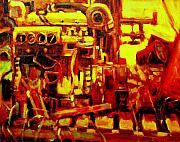Machinery Painting Originals - Marine Engine by Brian Simons