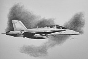 Close Air Support Drawings Framed Prints - Marine Hornet Framed Print by Stephen Roberson