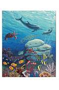 Tropical Fish Paintings - Marine Metro by Frank Insinga