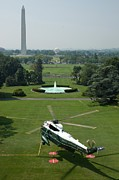 Barack Photo Framed Prints - Marine One Lifts Off From The South Framed Print by Everett