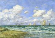 Crashing Surf Paintings - Marine scene by Eugene Louis Boudin