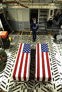 Casket Photos - Marine Stands Guard Over Two Fallen by Stocktrek Images
