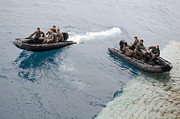 Inflatable Photos - Marines Depart The Well Deck by Stocktrek Images