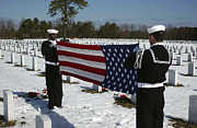 Headstones Prints - Marines Perform Flag Folding Honors Print by Stocktrek Images