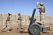 Artillery Framed Prints - Marines Prepare To Fire A 120mm Mortar Framed Print by Stocktrek Images
