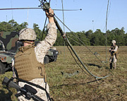 Electronics Photos - Marines Raise An Oe-254 Field Radio by Stocktrek Images