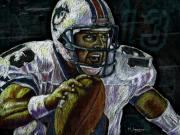 Miami Dolphins Drawings - Marino by Maria Arango