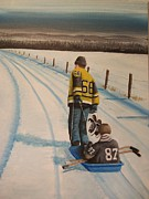 Minor Hockey Painting Framed Prints - Mario and The Kid Framed Print by Ron  Genest