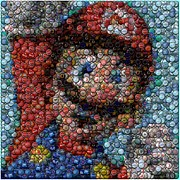 Super Mario Framed Prints - Mario Bottle Cap Mosaic Framed Print by Paul Van Scott