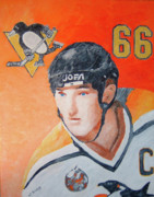 Hockey Paintings - Mario Lemieux by Wj Bowers