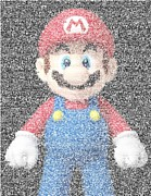 Luigi Digital Art Metal Prints - Mario Mosaic Metal Print by Paul Van Scott