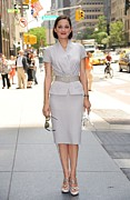 Gray Suit Framed Prints - Marion Cotillard Wearing A Dior Suit Framed Print by Everett