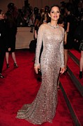 Sequin Metal Prints - Marion Cotillard Wearing A Silver Metal Print by Everett