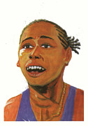 Shock Drawings Prints - Marion Jones Print by Emmanuel Baliyanga