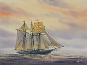 Tall Ship Painting Prints - Maritime Beauty Print by James Williamson