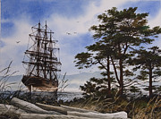 Tall Ship Painting Prints - Maritime Shore Print by James Williamson