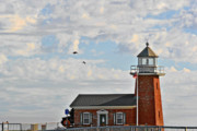 American Landmarks Art - Mark Abbott Memorial Lighthouse  - Home of the Santa Cruz Surfing Museum CA USA by Christine Till