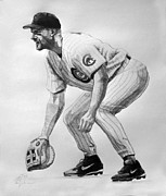 Mlb Drawings Prints - Mark Grace Print by Adam Barone