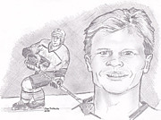 Flyers Hockey Drawings - Mark Howe by Chris  DelVecchio