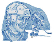 Edmonton Oilers Drawings - Mark Messier by Chris  DelVecchio
