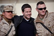 Actors Prints - Mark Wahlberg Visits Marines At Camp Print by Everett